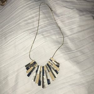 Gold navy and cream necklace